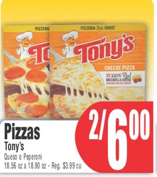 Pizzas Tony's Queso o Pepperoni