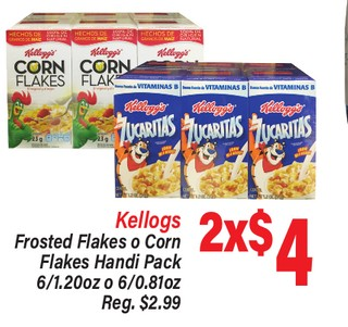 Kellogg's Frosted Flakes o Corn Flakes Handi Pack