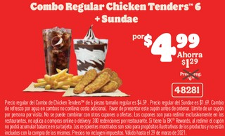 Combo Regular Chicken Tenders 6 + Sundae