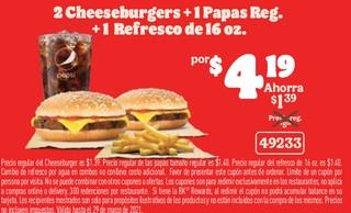 2 Cheeseburgers + 1 Papas Reg + 1 Refresco de 16 oz
