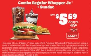 Combo Regular Whopper Jr. + Sundae