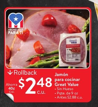 Jamón Para Cocinar Great Value