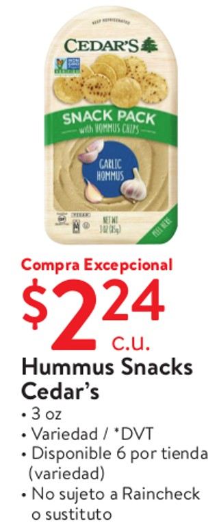Hummus Snacks Cedar's 3 oz