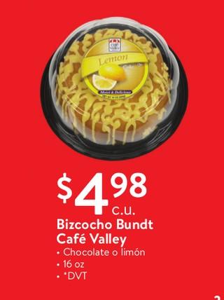 Bizcocho Bundt Cafe Valley Chocolate o Limón 16 oz