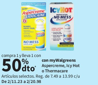 Aspercreme, Icy Hot o Thermacare