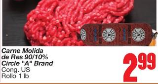 """Carne Molida de Res 90/10% Circle """"A"""" Brand"""