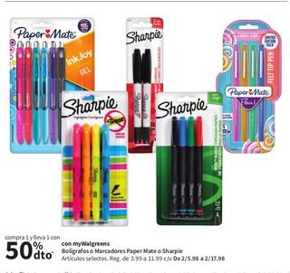 Bolígrafos o Marcadore Paper Mate o Sharpie