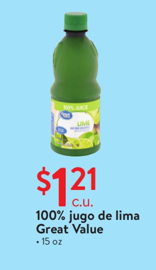 100% jugo de lima Great Value 15 oz