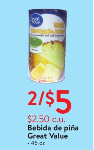 Bebida de piña Great Value 46 oz
