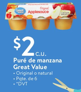 Puré de Manzana Great Value Original o Natural