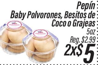 Pepín Baby Polvorones, Besitos de Coco o Grajeas