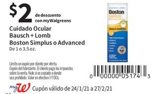 Cuidado Ocular Bausch + Lomb Boston Simplus o Advanced