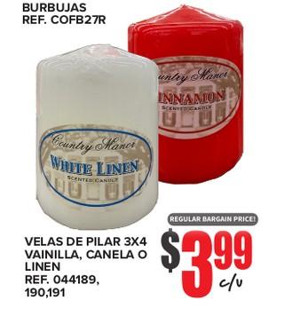 Velas de Pilar 3x4 Vainilla, Canela o Linen