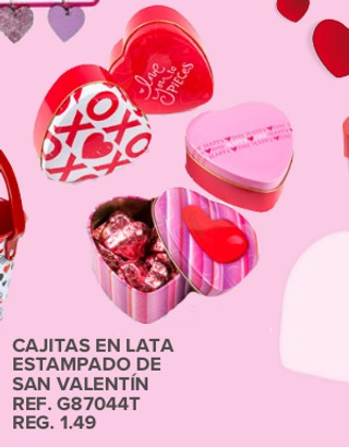 Cajitas en Lata Estampado De San Valentin