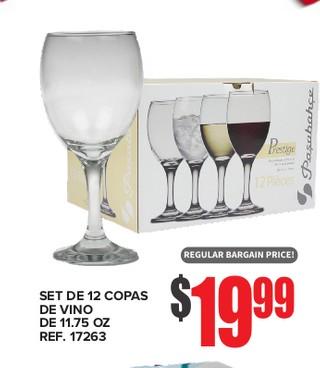Set de 12 Copas De Vino De 11.75 oz