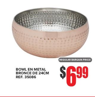 Bowl en Metal Bronce de 24 cm