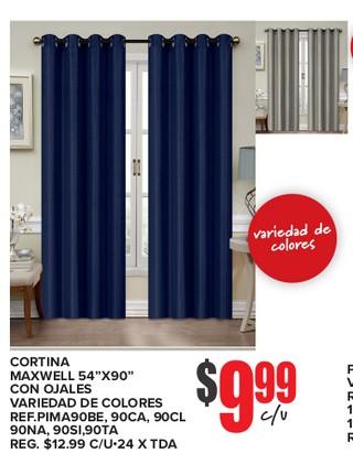Cortinas Maxwell 54''x90'' Con Ojales Variedad de Colores