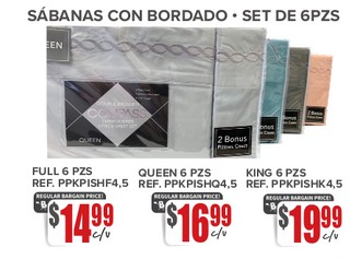Sabanas Con Bordados - Set De 6 Pzs