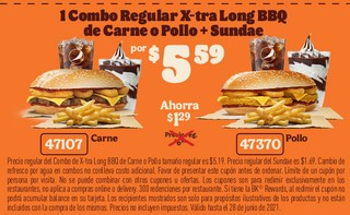 1 Combo Regular Xtra Long BBQ