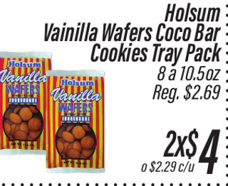 Holsum Vainilla Wafers Coco Bar Cookies Tray Pack