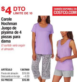 Carole Hochman Juego de Pijama de 4 Piezas Para Dama