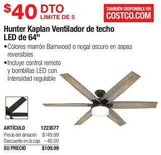 Hunter Kaplan Ventilador de Techo LED de 64''