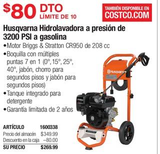 Husqvarna Hidrolavadora a presion de 3200 PSI a gasolina