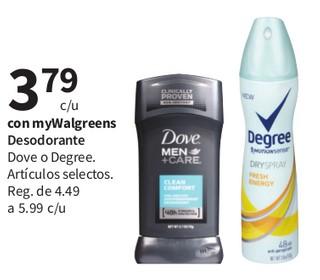 Desodorante Dove o Degree