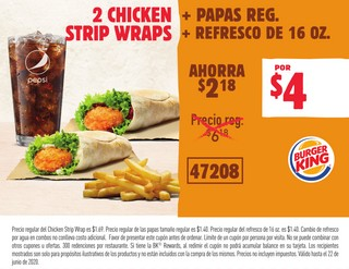 2 Chicken + Papas Reg. Strip Wraps + Refresco