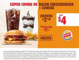 Súper Combo de Bacon Cheeseburger + Sundae