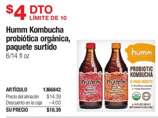 Humm Kombucha probiotico organico, paquete surtido