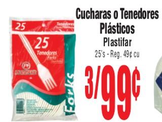 Cucharas o Tenedores Plásticos Plastifar
