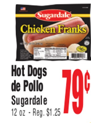 Hot Dogs de Pollo Sugardale
