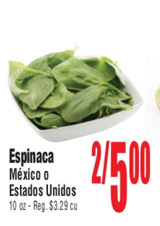 Espinaca Mexico o Estados Unidos