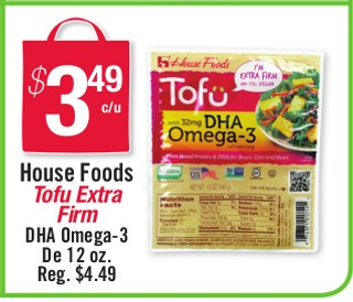 House Food Tofu Extra Firm DHA Omega-3 De 12oz.