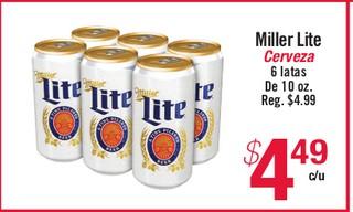 Miller Lite Cerveza 6 Latas de 10oz