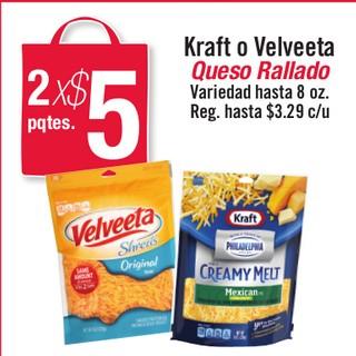 Kraft o Velveeta Queso Rallado