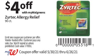 Zyrtec Allergy Relief 90 ct