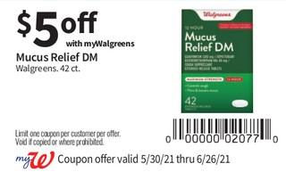 Mucus Relief DM Walgreens. 42 ct.