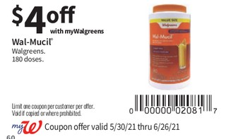 Wal-Mucil Walgreens 180 doses