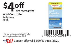 Acid Controlled Walgreens 50 ct.