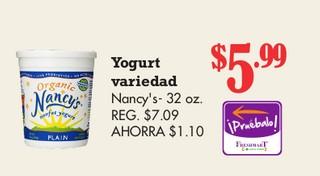 Yogurt Variedad Nancy's 32 oz
