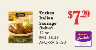 Turkey Italian Sausage Shelton's 12 oz