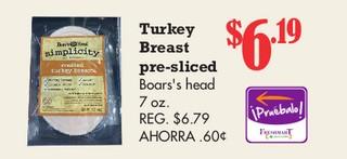 Turkey Breast pre-sliced boar's Head 7 oz