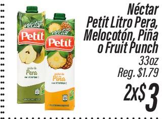Nectar Petit Litro Pera, Melocoton, Piña o Fruit Punch 33 oz