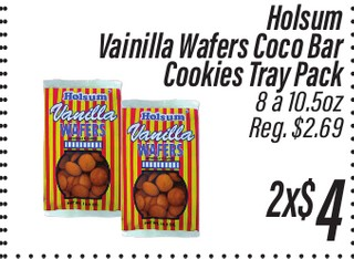 Holsum Vainilla Wafers Coco Bar Cookies Tray Pack 8 a 10.5 oz