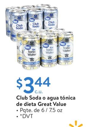 Club soda o agua tónica de dieta Great Value