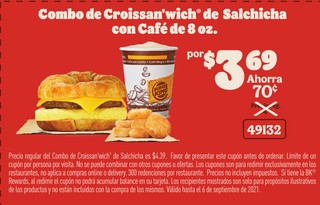 Combo Croissan'wich de Salchicha con Café de 8 oz
