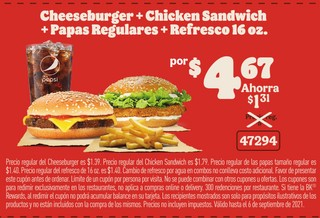 Cheeseburger + Chicken Sandwich