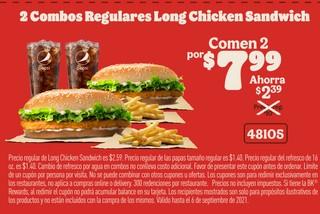 2 Combos Regulares Long Chicken Sandwich
